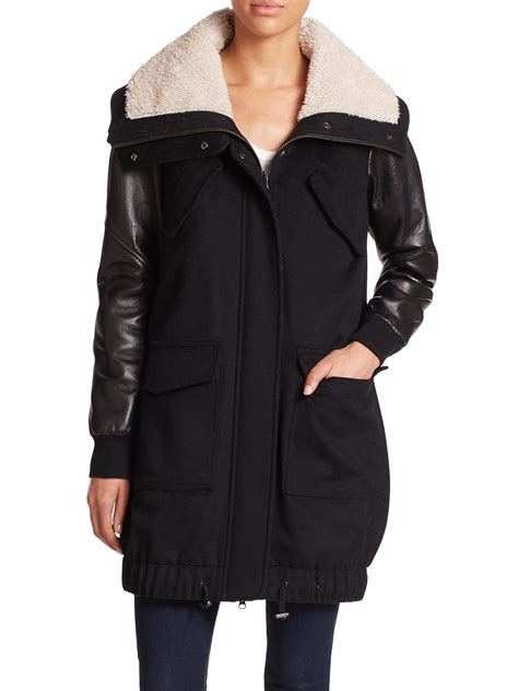 lined leather jacket tess giberson faux shearling lined wool leather jacket in black black combo lyst