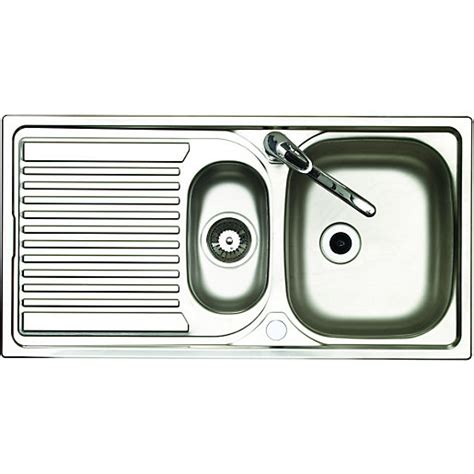 2 kitchen sink wickes 1 1 2 bowl reversible kitchen sink with tap