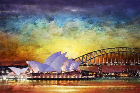 acrylic paint sydney sydney opera house painting by catf