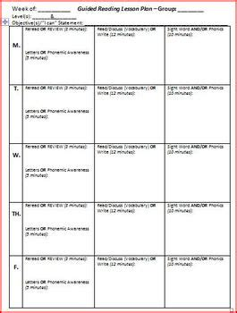 guided reading lesson plan template 5 days by brittni