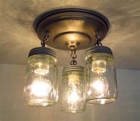 jar ceiling lights pint canning jar ceiling light trio by lgoods on etsy