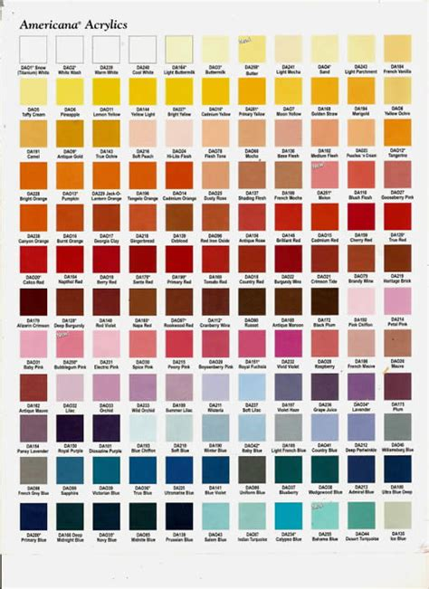 acrylic paint color chart inspiring americana craft paint 4 americana acrylic paint