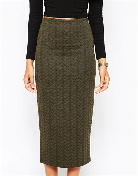 Asos Asos Pencil Skirt In Cable Knit Texture At Asos