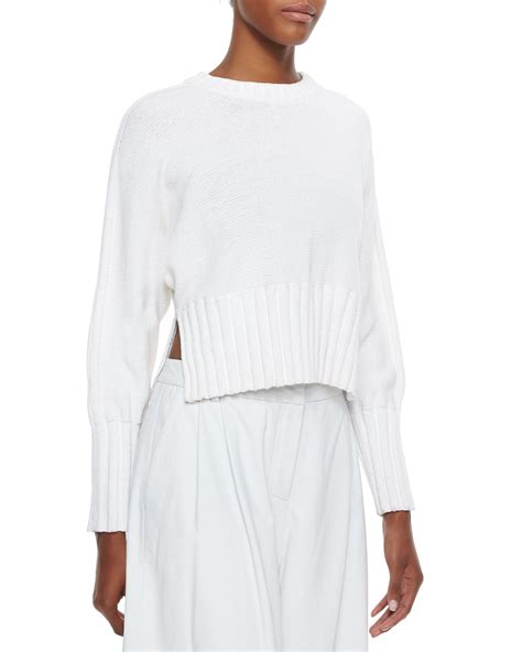 white chunky knit sweater t by wang chunky knit cropped pullover sweater