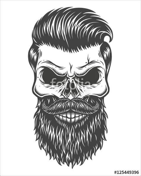 skull beard quot monochrome illustration of skull with beard mustache