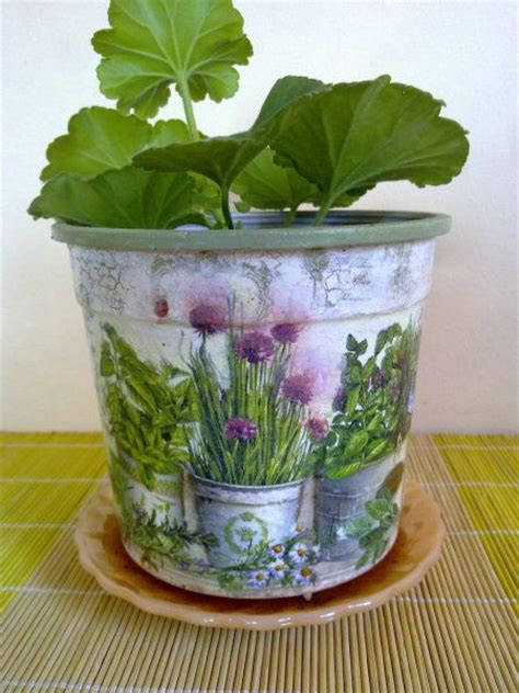 decoupage clay pots ideas γλαστράκι για τη βεράντα decoupage flower