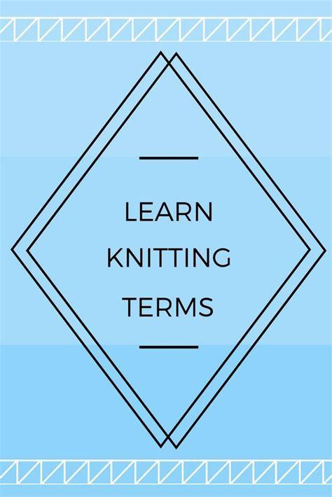 knitting terms crochet terms
