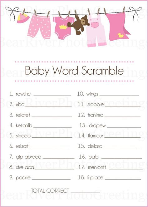 scrabble word scramble baby shower words scrambles printable activity shelter
