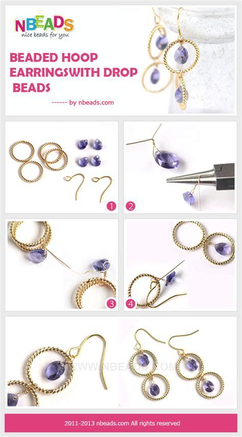 bead process beaded hoop earrings with drop nbeads