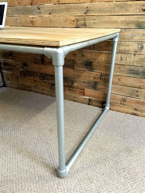birch computer desk diy plywood desk with pipe frame plans to build your own