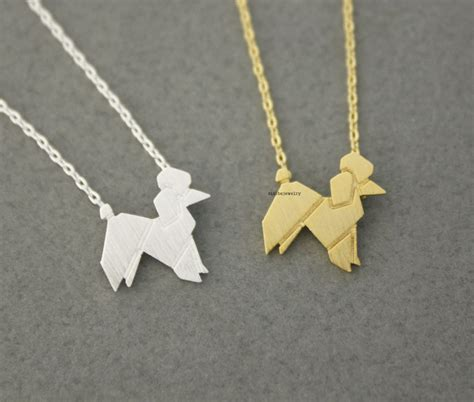 origami poodle origami lovely balloon poodle necklace in 2 colors