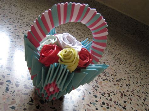 how to make origami flower basket 3d origami flower basket