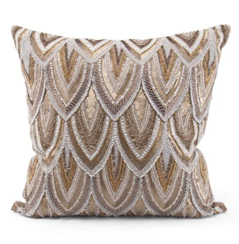 gold beaded pillow cortez copper gold beaded embroidered pillow 22x22