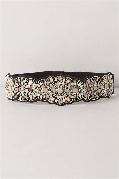 how to make a beaded belt for a wedding dress anthropologie bloomhurst beaded belt in purple lyst