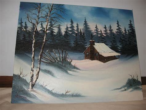 bob ross painting cabin winter cabin by twinket on deviantart