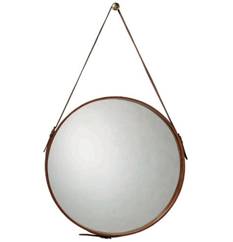 Ballard Design Mirror high vs low round leather mirrors