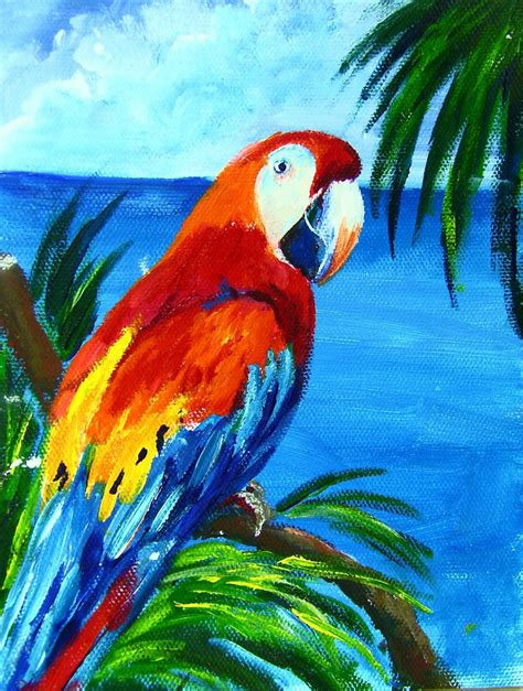 painting birds acrylic macaw one hour acrylic painting lesson cook