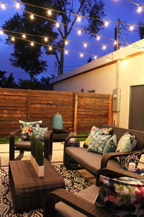patio string light ideas outdoor style garden outdoor tour blue i style