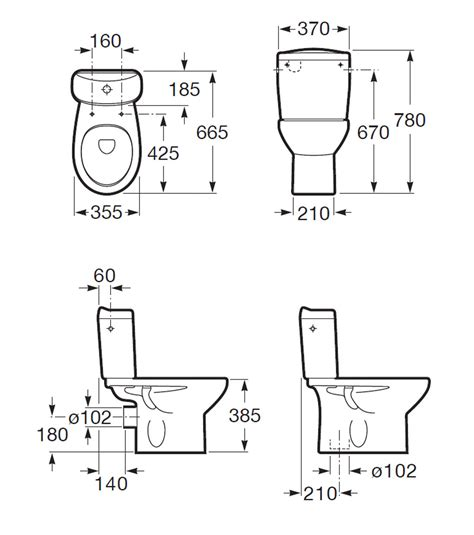 Eco Toilet Dimensions by Roca Laura Close Coupled Eco Wc Pan 665mm 34239s000