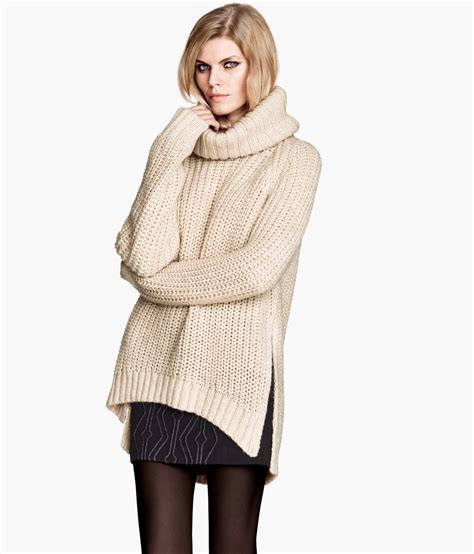 h m knit h m pattern knit polo neck jumper in lyst