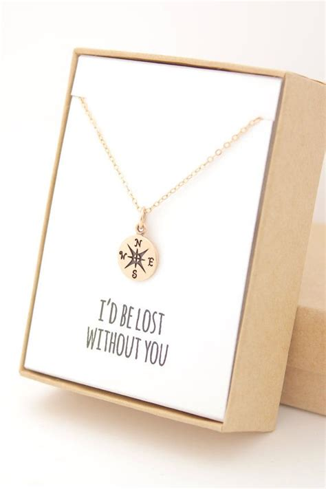 gift necklace gold compass necklace gifts for