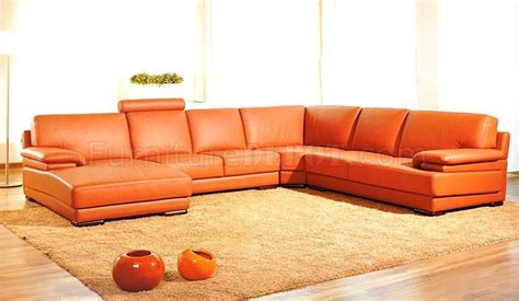 orange leather sectional sofa italian top grain leather modern sectional sofa 2227