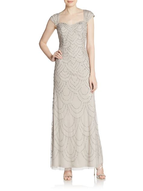 beaded cap sleeve gown papell beaded cap sleeve gown in metallic lyst