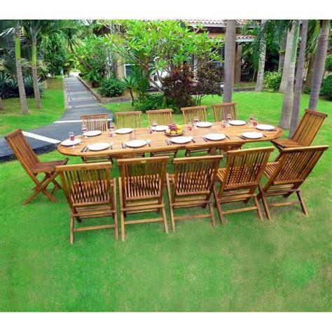 salon de jardin en teck sumatra huil 233 avec table rallonge wood en stock