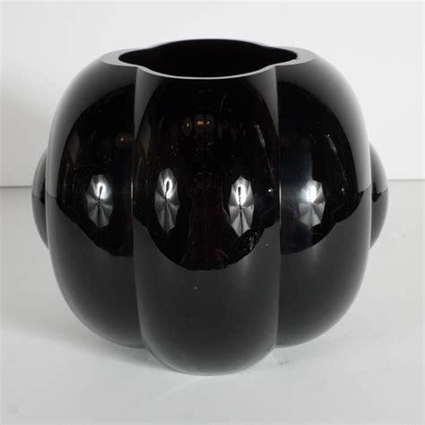black glass for vases deco black glass fishbowl vase by george sakier for
