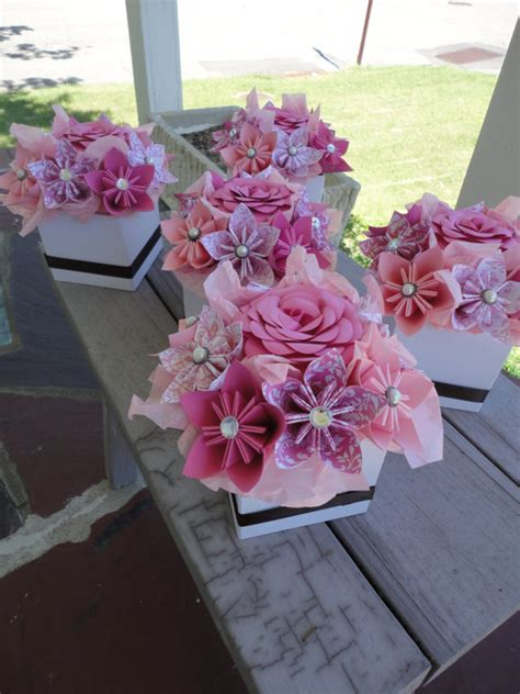 origami wedding centerpieces origami paper flower centerpiece set of 5 kusudama pink small