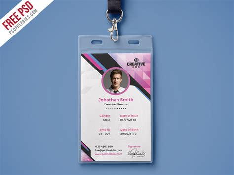 how to make id cards at home company photo identity card psd template psdfreebies