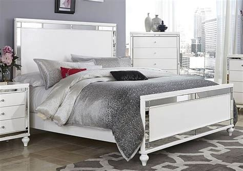 bedroom furniture with mirror glitzy 4 pc white mirrored king bed n s dresser mirror