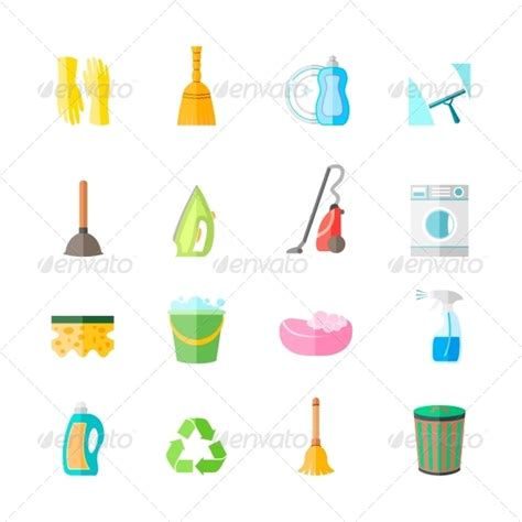 clean emoji graphicriver cleaning icons set 7545068