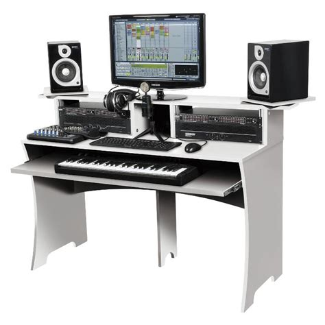 dj studio desk white workbench