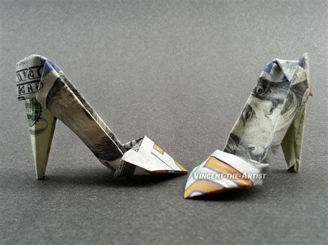 origami boot dollar bill 100 bill high heels money origami dollar bill