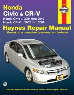 haynes manual honda cr v petrol diesel 2002 2006 51 to 56 haynes repair manual for honda civic and cr v covering the civic 2001 thru 2010 and cr v 2002