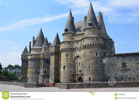 vire free castle in vire in normandy on july 2014 stock