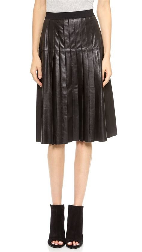 leather pleated skirt vince leather pleated skirt black in black lyst