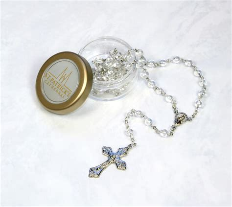 rosary bead cases clear glass rosary with keepsake