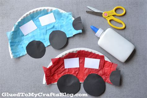 craft paper plates paper plate cars kid craft glued to my crafts