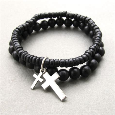 mens wooden beaded bracelets mens black coco and wooden beaded stretch bracelets with