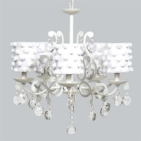 white drum chandelier white 5 light elegance chandelier with white pom pom drum