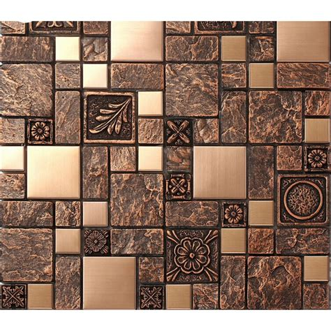 Ceramic Wall Murals brushed stainless steel tiles brass resin metal mosaic