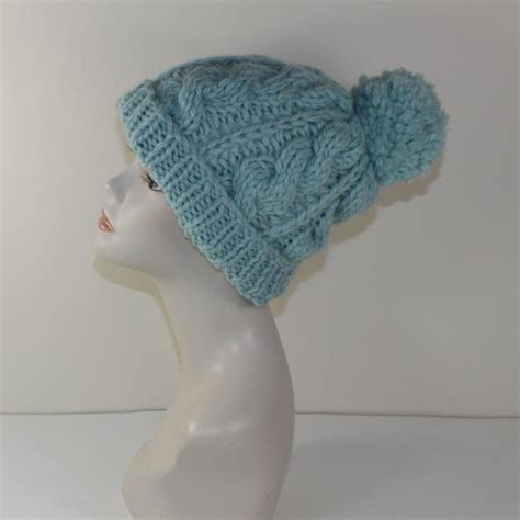 Chunky Cable Bobble Beanie Hat By Madmonkeyknits