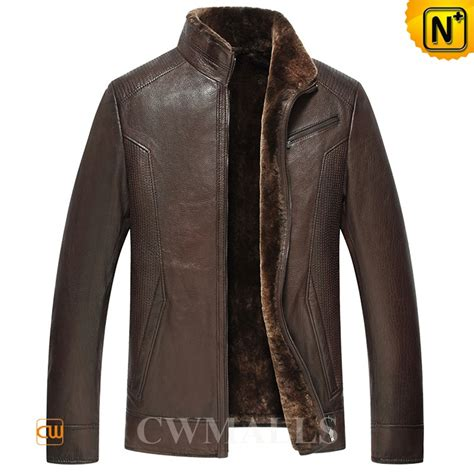 leather and shearling jacket brown shearling leather jacket cw857059