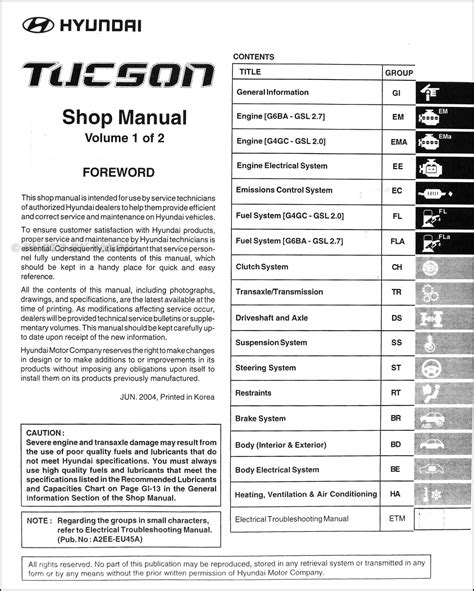 service manual pdf 2006 hyundai tucson workshop manuals 2007 hyundai tucson shop manual 2005 hyundai tucson repair shop manual 2 volume set original