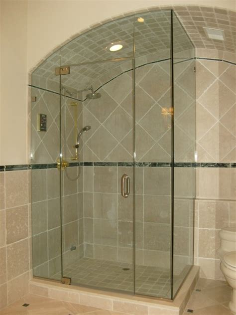 majestic series frameless arced shower door enclosures by