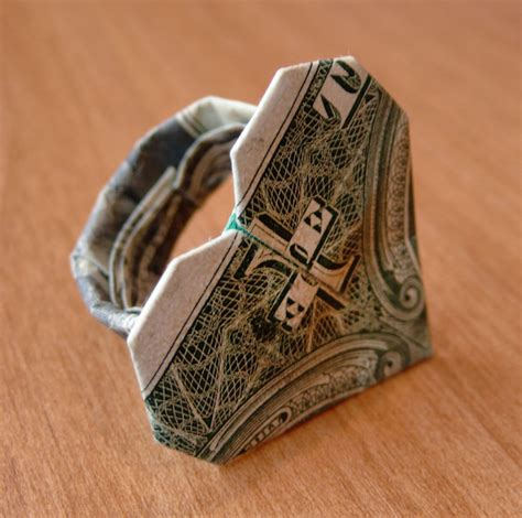 origami out of a dollar bill dollar bill origami ring by craigfoldsfives on