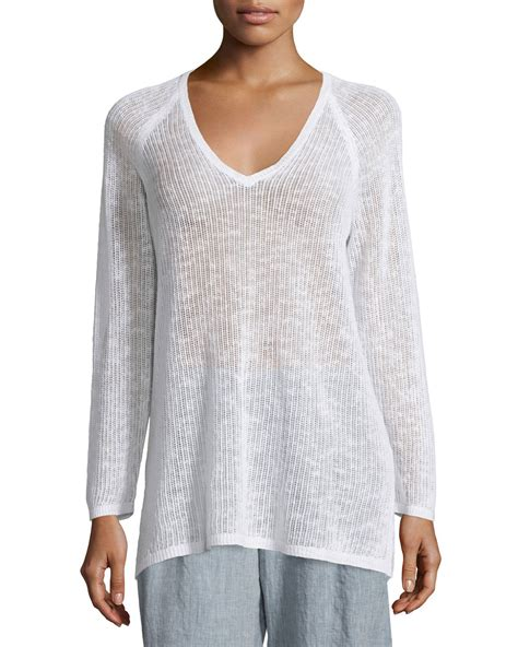 white knit tunic eileen fisher sleeve organic knit grid tunic in white