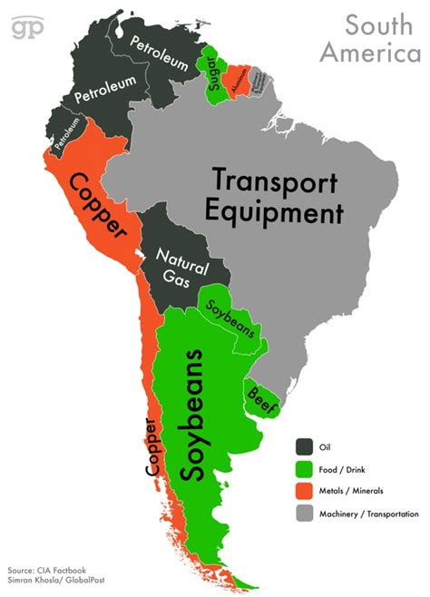 south american this map shows which export makes your country the most